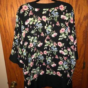 Liz Claiborne Black Floral Kimono | Size 2X-3X